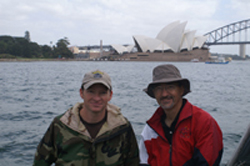 Matt with Dad on Sydney Harbor