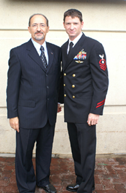 Matt with his dad before commissioning