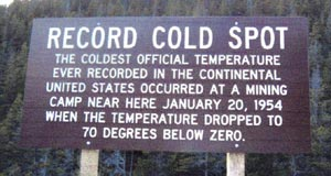 Record cold sign on Rogers Pass