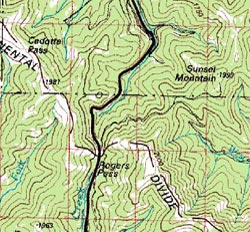 Topo map of Rogers Pass