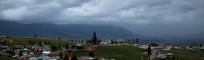 Storm rushing across the valley in Butte, Montana